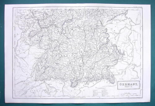 GERMANY Southern Part - c. 1835 Original Map 11 x 16""