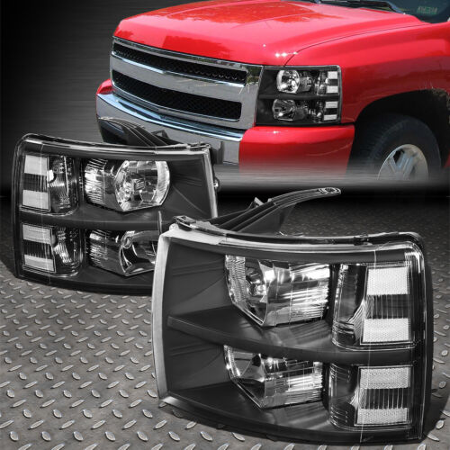 FOR 07-14 CHEVY SILVERADO BLACK HOUSING CLEAR CORNER HEADLIGHT REPLACEMENT LAMP <br/> OE Factory Style; Direct Replacement; Fast Shipping!