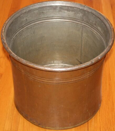 "16 1/2""x14"" Antique Turkish & Handhammered Copper Boiler Cauldron Planter"