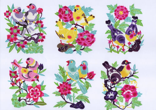 Handmade Chinese Paper Cuts Pair Birds Set 10 colorful small pieces Chen