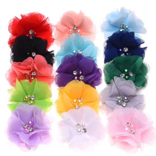 10 PCS DIY Chiffon Flower Baby Girls Hair Pearl For Headbands Corsage No Clip
