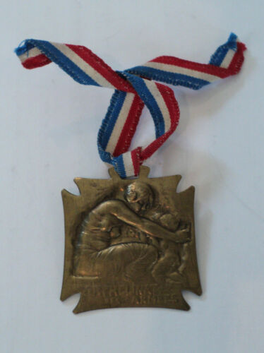 """NICE ANTIQUE RENE LALIQUE WWI (1913-1916) CHARITY MEDAL """"ORPHANS OF THE NAVY""""France - 13964"""