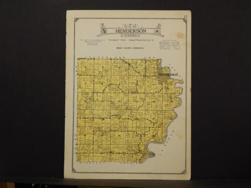 Minnesota Sibley County Map Henderson Township 1926 Y7#48