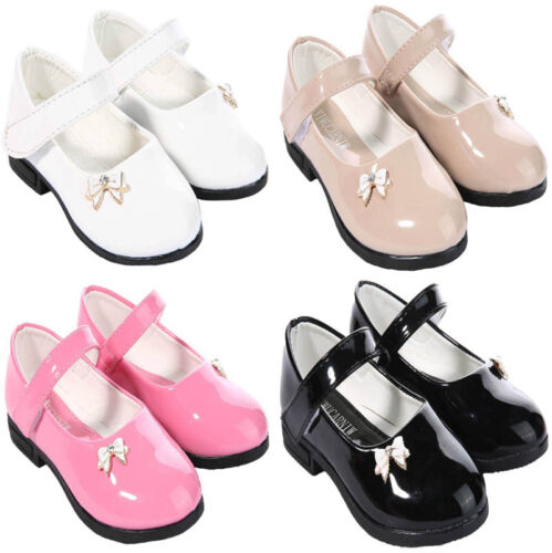 NEW GIRLS PATENT SHOES STRAP SHINY EASY CLEAN TODDLER SHOES KIDS SIZES SCHOOL