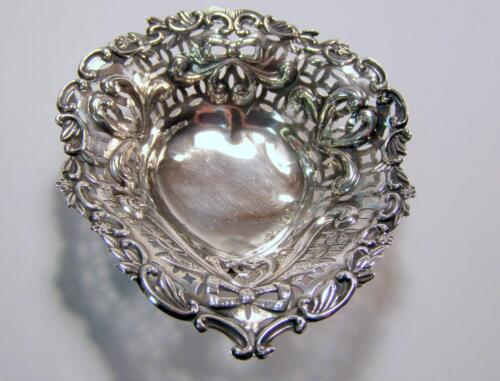 Antique George Unite Birmingham English Sterling Silver Salt Cellar Bows Hearts