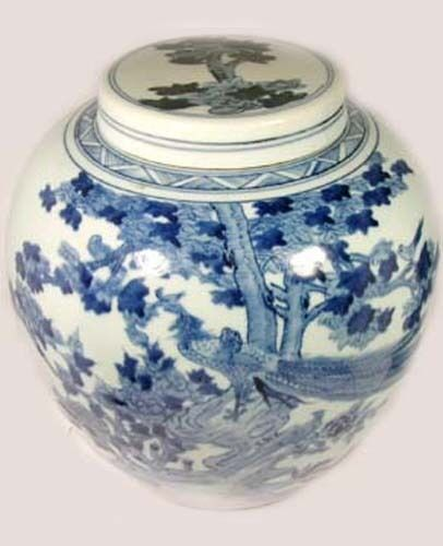 Antique Porcelain Blue + White Ming Style Vase Lid Peacocks in Tree 19thC China