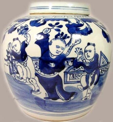 "XL 19thC China ""Ming Style"" Blue White Porcelain Jar Musicians Dancers Landscape"