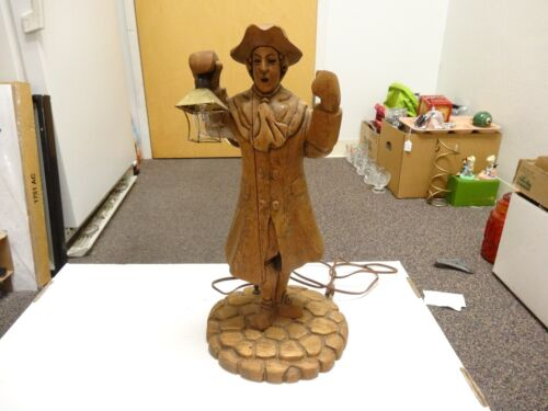 Vintage Hand-Carved Wood Figurines/Figures Man HOLDING SMALL LIGHT LAMP