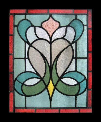 Floral Art Nouveau English Antique Stained Glass Window