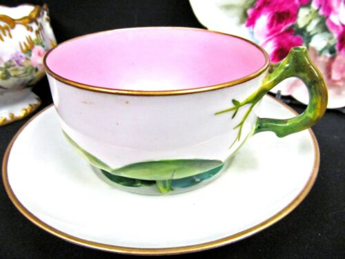Antique c.1850 Mintons waterlily pad tea cup and saucer footed pink teacup
