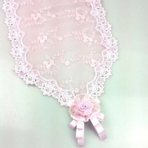 Divine Shabby French Pink Embroidered Lace Rosebud Table Runner ~ 30 x 150cm ~
