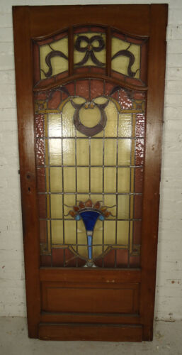 Single Antique American Stained Glass Door (05296)NS