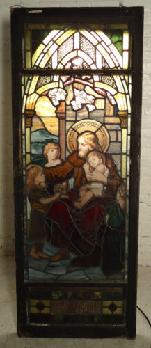 Beautiful Antique Religious Stained Glass Panel (05313)NS