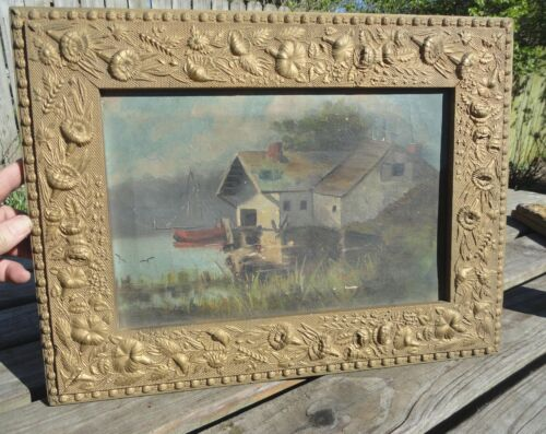 Antique 1800's Oil Painting Cabin Lake Ornate Old Frame