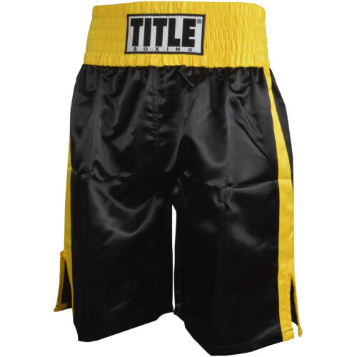 Title Professional Boxing Trunks - Black/Gold <br/> Exclusive Seller of TITLE Boxing on eBay