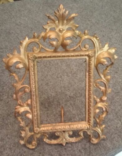 Vintage Antique Art Deco Free Standing Easel Back Picture Frame for 4.25x6 photo