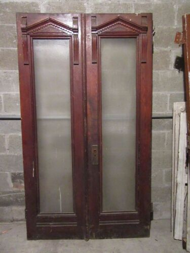~  ANTIQUE CHESTNUT DOUBLE ENTRANCE FRENCH DOORS ~ ARCHITECTURAL SALVAGE ~