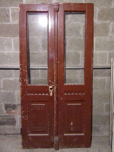 ORNATE ANTIQUE DOUBLE ENTRANCE FRENCH DOORS ~41 X 82~ ARCHITECTURAL SALVAGE