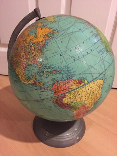 "Vintage World Globe Large About 14"" Tall, Weber Costello Co"