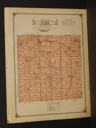 Minnesota Fillmore County Map 1915 York Township   W3#30