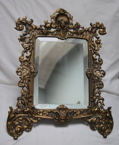 beautiful ornate vintage cast dresser mirror on stand, detailed art deco