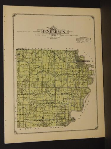 Minnesota Sibley County Map Sibley Henderson Township  1914  W4#67