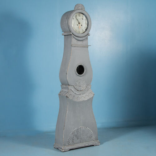 Antique 19th Century Blue/Gray Painted Swedish Gustavian Mora Grandfather Clock