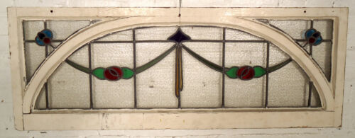 Antique Vintage Stained Glass Transom Window (05561)NS