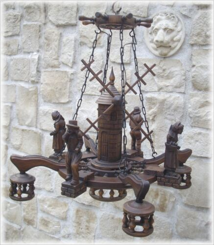 ANTIQUE FRENCH BLACK FOREST HAND CARVED WOOD 5 LIGTH CHANDELIER FIGURE MILL 19th