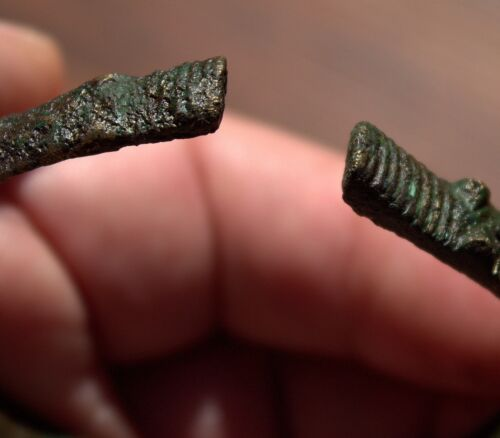 Circa 900 1000 AD Ancient Hand Forged Viking Bronze Bracelet With 2 DRAGON HEADS