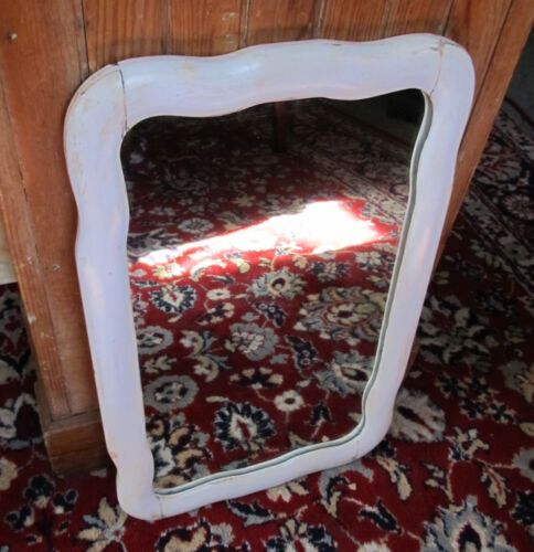 """NICE ANTIQUE ART NOUVEAU FRAMED MIRROR W/ ORIG 1/4"""" THICK GLASS TONGUE & GROOVE"""