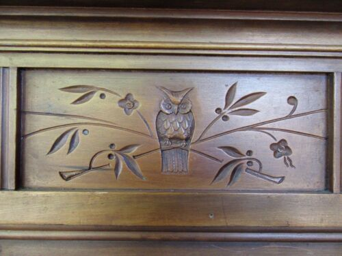 ~  CARVED CHERRY  FIREPLACE MANTEL WITH OWL ~ 56 X 47 ~ ARCHITECTURAL SALVAGE