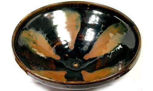Antique 19thC China Song Style Black Rust Glazed Oil Spot Hare Fur Ceramic Bowl