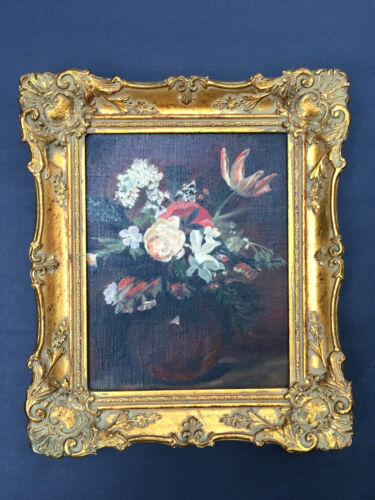Antique Vintage Victorian Ornate Gold Gilt Frame Painting of Flowers