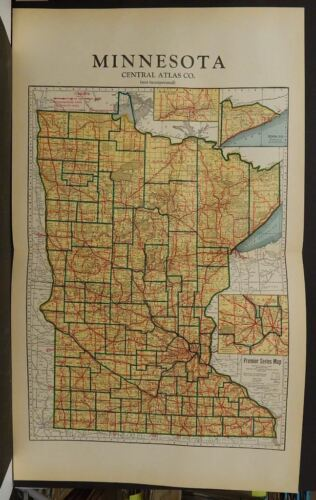 Minnesota State Map 1937  Double Page  J11#92