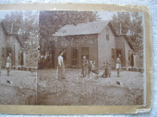 1800s FAMILY IN FRONT OF A TWO STORY HOUSE STEREOVIEW