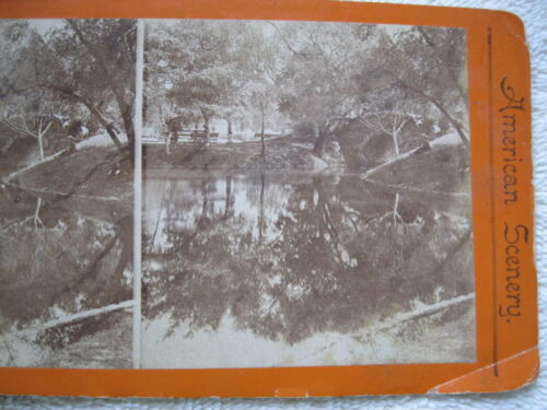 1800s POND IN A PARK, CHICAGO, ILLINOIS  STEREOVIEW