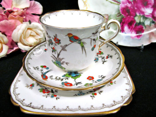 VINTAGE TUSCAN TEA CUP AND SAUCER TRIO FLORAL BIRDS PAINTED TEACUP