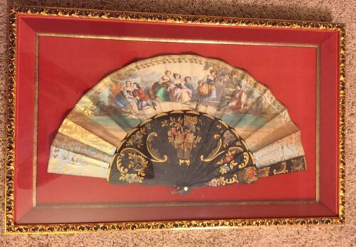 Vintage Victorian 19th Century Wood Hand Painted Scene Fan Rare Framed 25 x 15.5