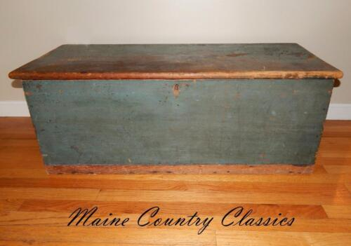 Antique 19th C. Maine Six Board Blanket Box in Old Blue Paint with Ditty & Lock