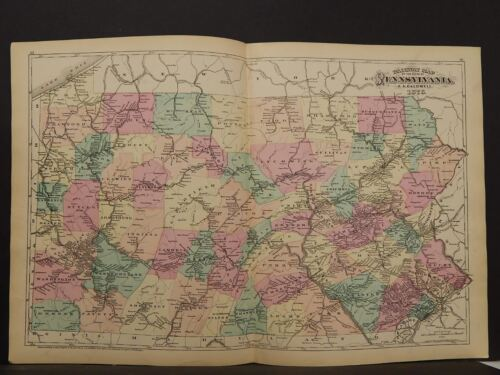 State of Pennsylvania Map, 1876, Railroad, Double Page, Q4#56