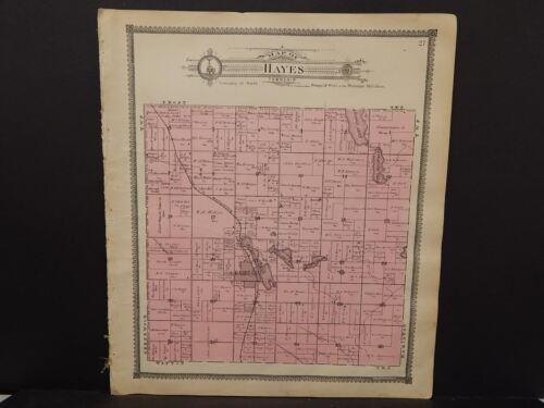 Michigan Clare County Map Hayes Township c.1905    J14#27
