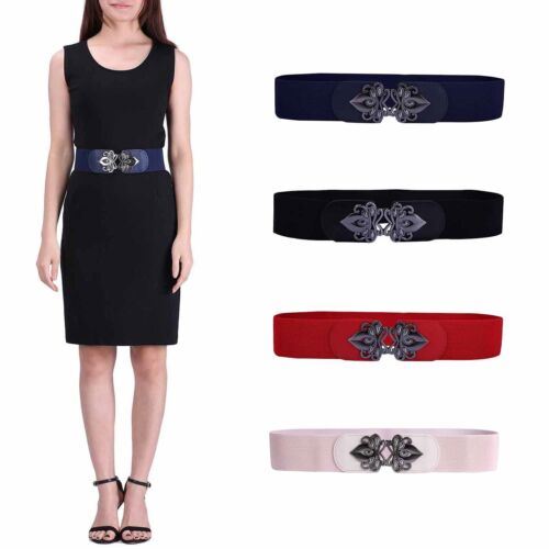 Womens Wide Elastic Cinch Belt Plus Size Vintage Buckle Stretch Waistband