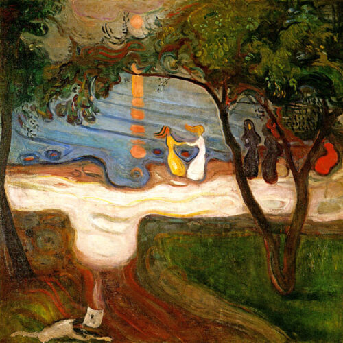 THE DANCE ON THE SHORE MOONLIGHT WAVES GIRLS 1900 PAINTING BY EDVARD MUNCH REPRO