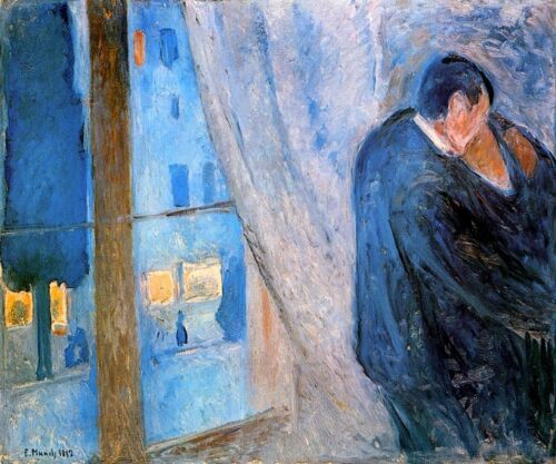 THE KISS COUPLE BY WINDOW MELTING TOGETHER 1892 PAINTING BY EDVARD MUNCH REPRO
