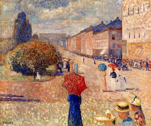 SPRING DAY ON KARL JOHAN STREET OSLO NORWAY 1891 PAINTING BY EDVARD MUNCH REPRO