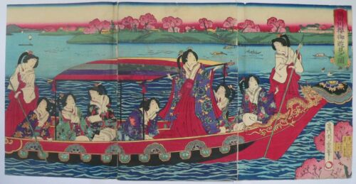 1879 Japanese Original Old Woodblock Print Triptych Beauties Sumida River