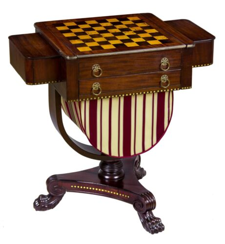 SWC-Classical Brass Inlaid Mahogany Worktable