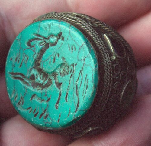 Large Very Old Hand Carved Turquoise Stone Intaglio Ornate Bronze Animal Ring