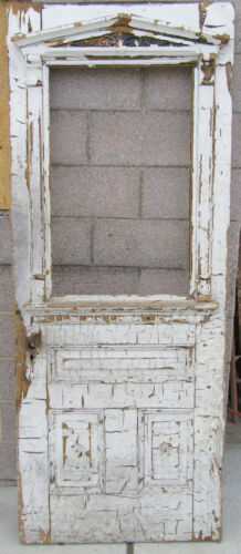 ~ ANTIQUE CARVED VICTORIAN DOOR CRUSTY PAINT 31.5 X 80 ~ ARCHITECTURAL SALVAGE ~